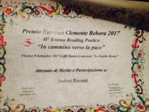 """Attestato di merito, Premio europeo Clemente Rebora 2017. Firenze, 992017, Caffè Storico Letterario """"Le Giubbe Rosse"""""""
