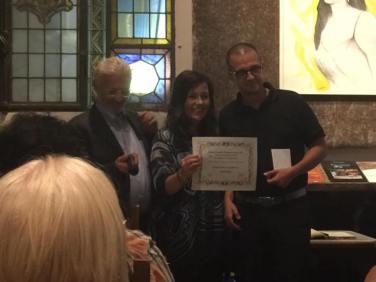 Premio europeo Clemente Rebora 2017, attestato di merito. Con Elisabetta Bagli e Diego De Nadai. Firenze, 992017, Caffè Storico Letterario Le Giubbe Rosse