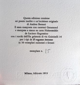 """Plaquette """"Sia poesia"""" di Andrea Bassani (Il Ragazzo Innocuo editore di Luciano Ragozzino)."""