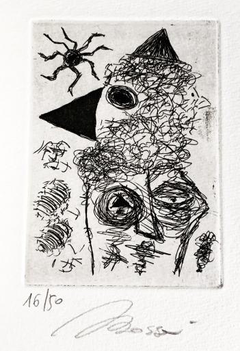 """Incisione originale di Andrea Bassani contenuta nella plaquette """"Sia poesia"""" (Il Ragazzo Innocuo editore di Luciano Ragozzino). 50 copie autografate contenenti una incisione originale e 6 poesie"""